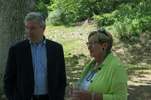 Senator Whitehouse and Trustee Donna Walsh.