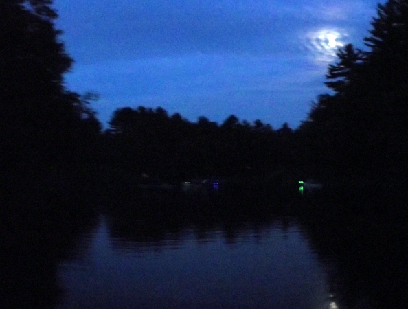 The blue and green lights on our kayaks let us keep track of each other as we paddle back by moonlight.